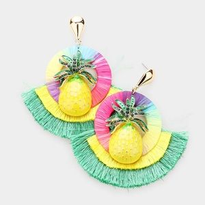 🍍PINEAPPLE FAN TASSEL STATEMENT EARRINGS